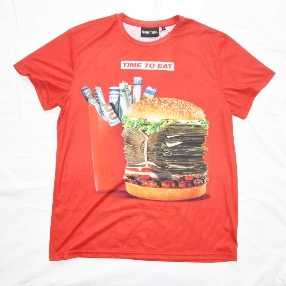 I AM DOPE CLOTHING/アイアム ドープ TIME TO EAT 半袖Tシャツ レッド
