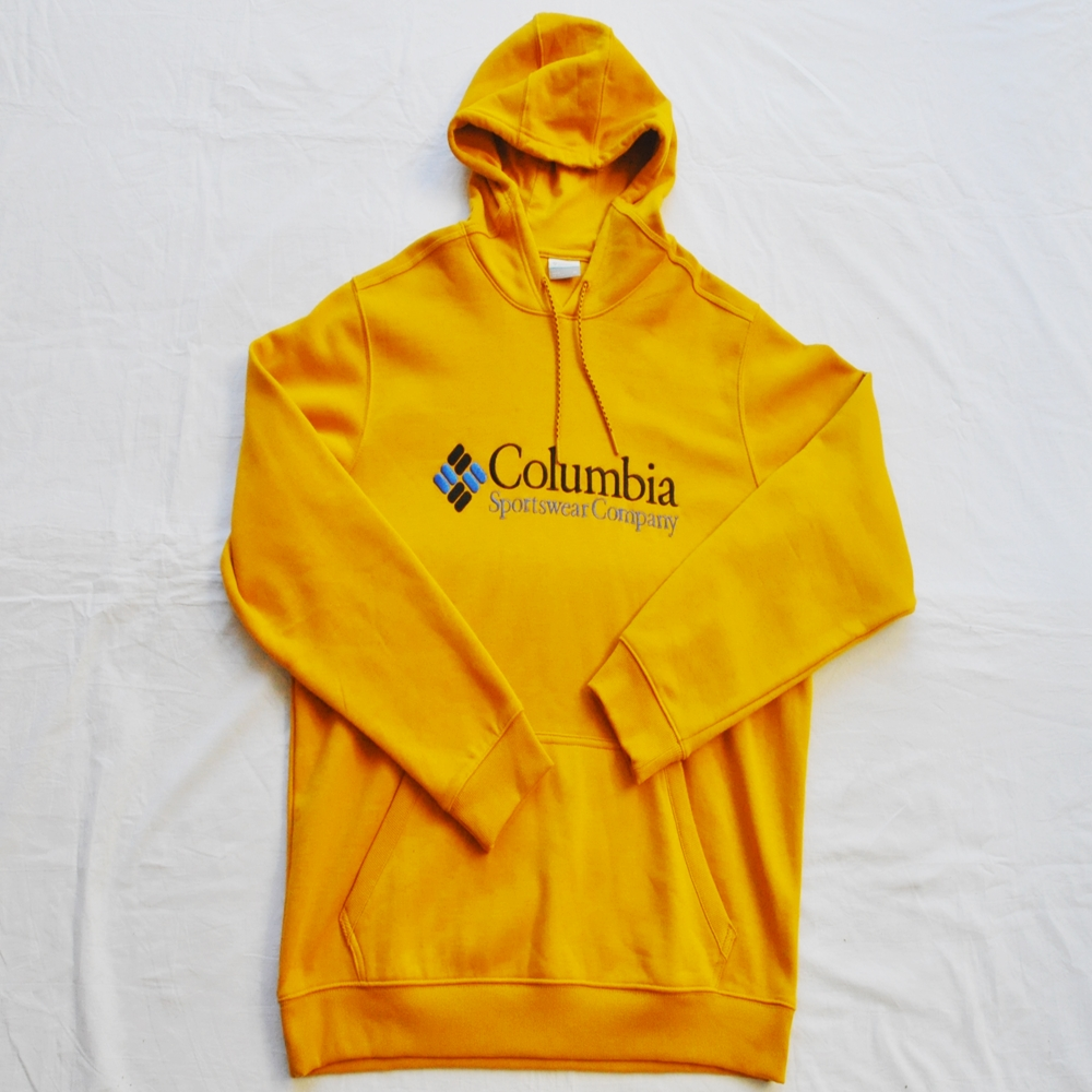 COLUMBIA/コロンビア EMBROIDERY COLUMBIA LOGO PULL OVER SWEAT HOODIE MUSTARD COLOR BIG SIZE