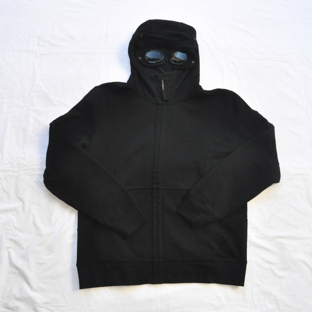 C.P.COMPANY/C.P. カンパニー GOGGLE FULL ZIP SWEAT HOODIE BLACK BIG SIZE