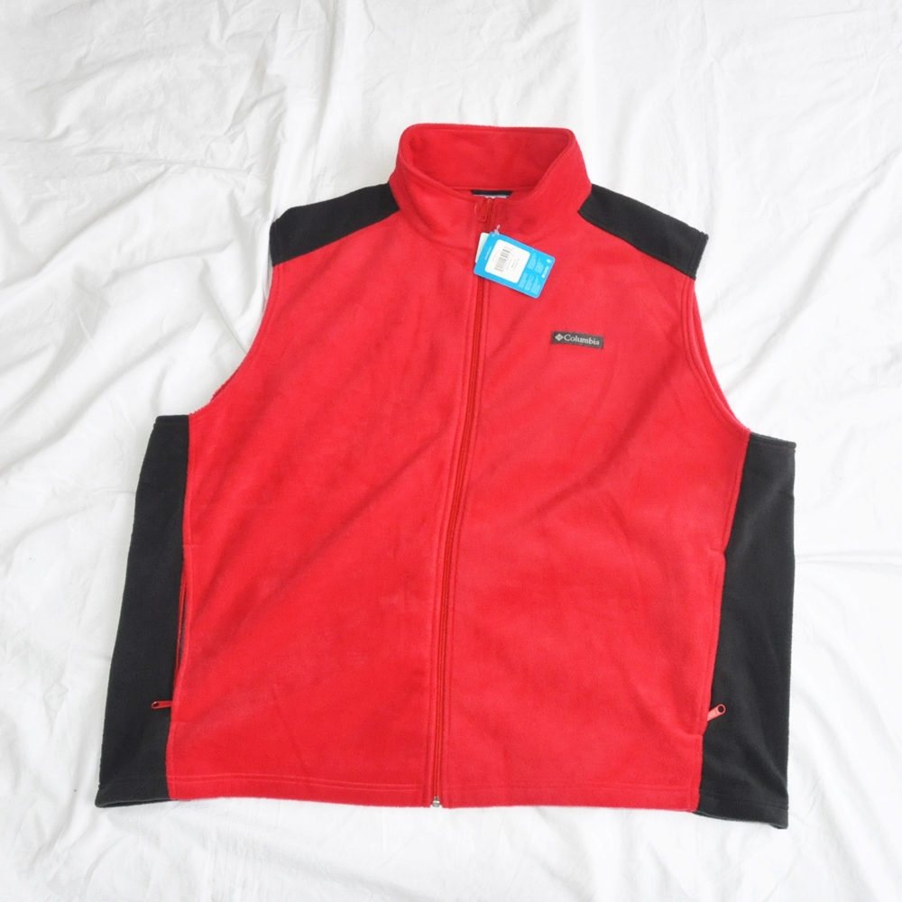 COLUMBIA/コロンビア FRONT LOGO EMBLEM FLEECE VEST RED 4XL BIG SIZE
