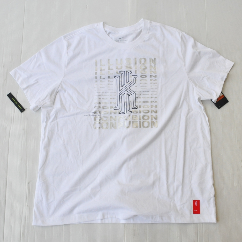 NIKE/ナイキ KYRIE LOGO ILLUSION CONFUSION DRY FIT  T-SHIRT WHITE BIG SIZE-2