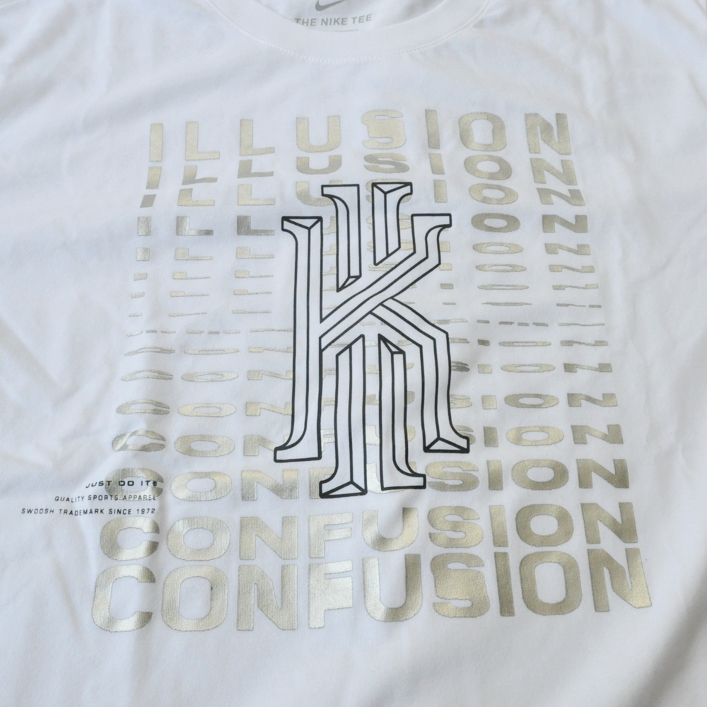 NIKE/ナイキ KYRIE LOGO ILLUSION CONFUSION DRY FIT  T-SHIRT WHITE BIG SIZE-4