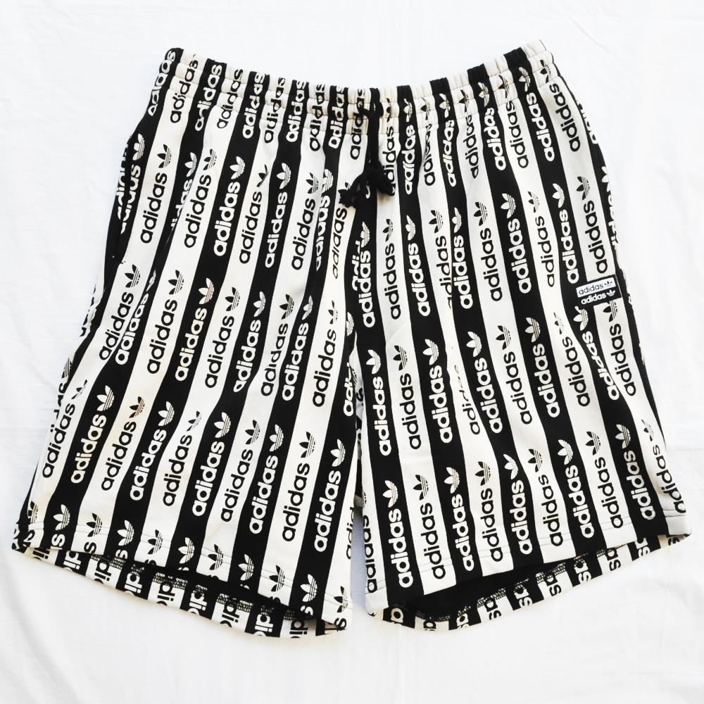 ADIDAS/アディダス adidas Originals LOGO BLACK×WHITE STRIPE SHORTS BIG SIZE