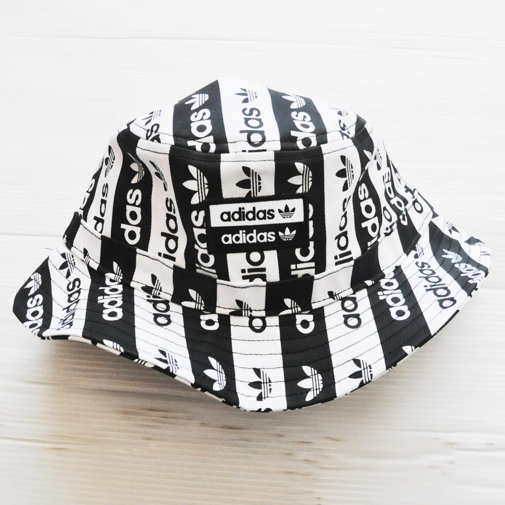 ADIDAS/アディダス adidas Originals LOGO BLACK×WHITE STRIPE BUCKET HAT