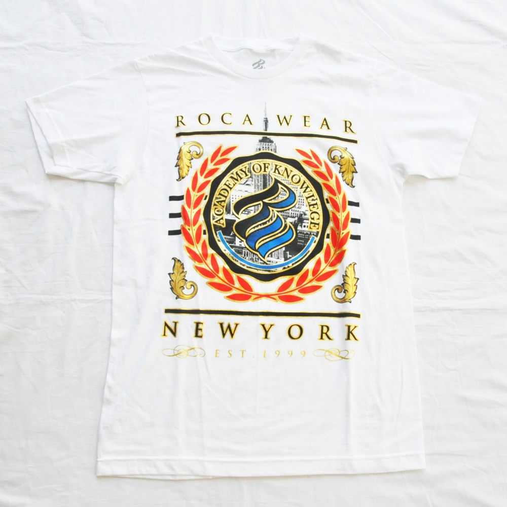 ROCAWEAR/ロカウェア NEW YORK ACADEMY OF KNOWLEGE LOGO T-SHIRT WHITE DEAD STOCK M,L,XL