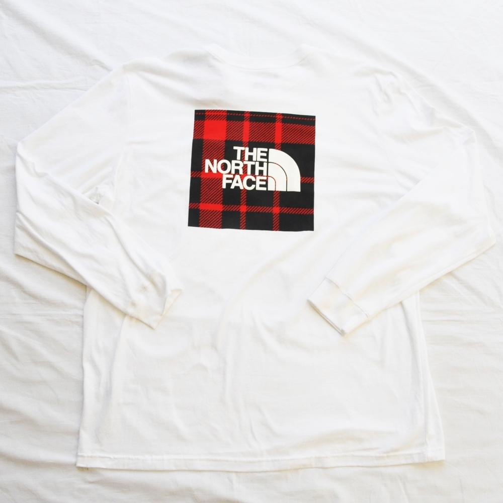 THE NORTH FACE/ザノースフェイス RED TARTAN CHECK BOX LOGO LONG SLEEVE T-SHIRT BIG SIZE