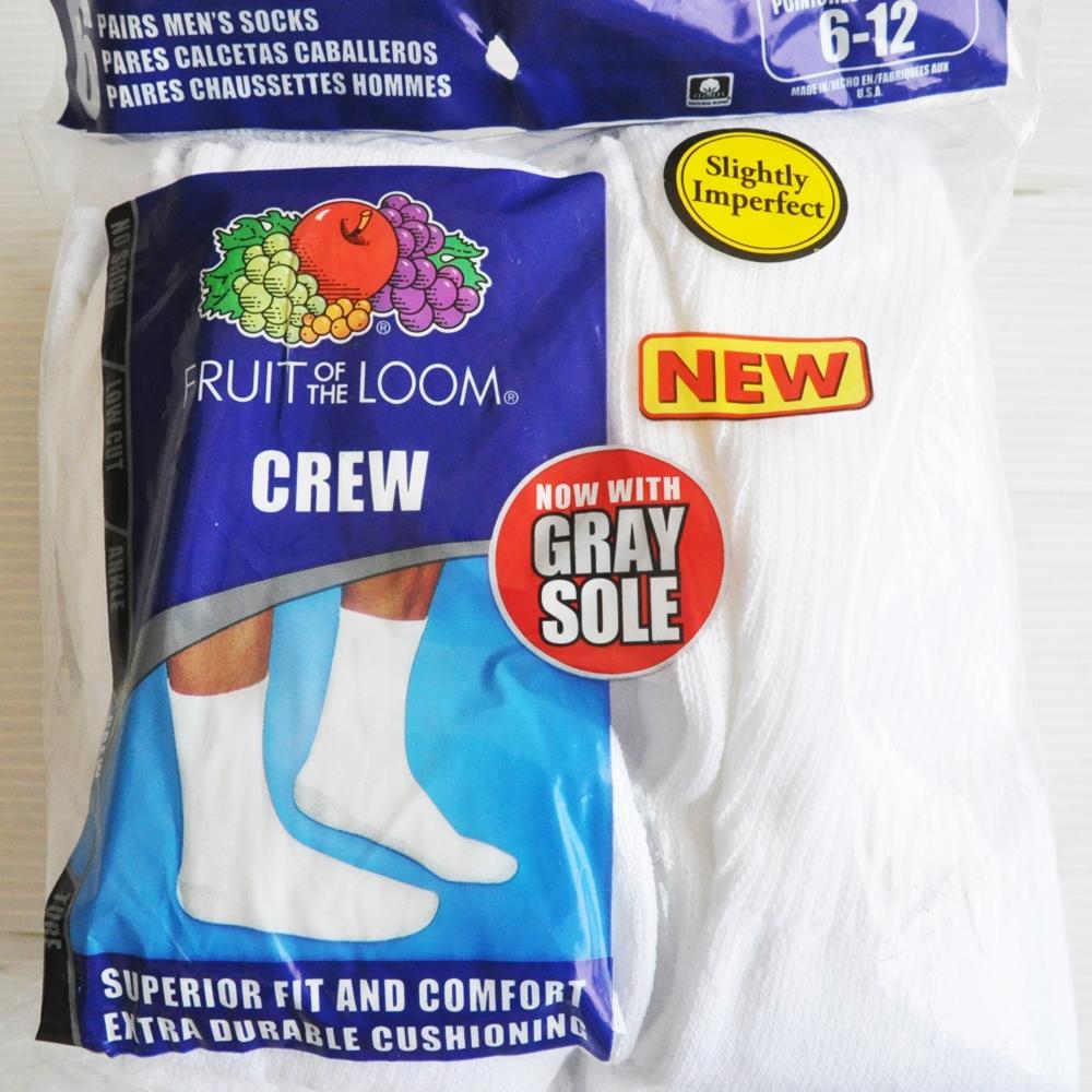 FRUIT OF THE LOOM/フルーツオブザルーム 6PACK WHITE MEN'S CREW SOCKS GRAY SOLE MADE IN USA-3