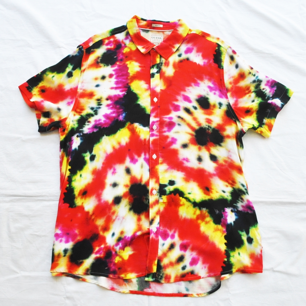 GUESS/ゲス TIE DYE DYEING SLIM FIT SHORT SLEEVE SHIRT RED BIG SIZE