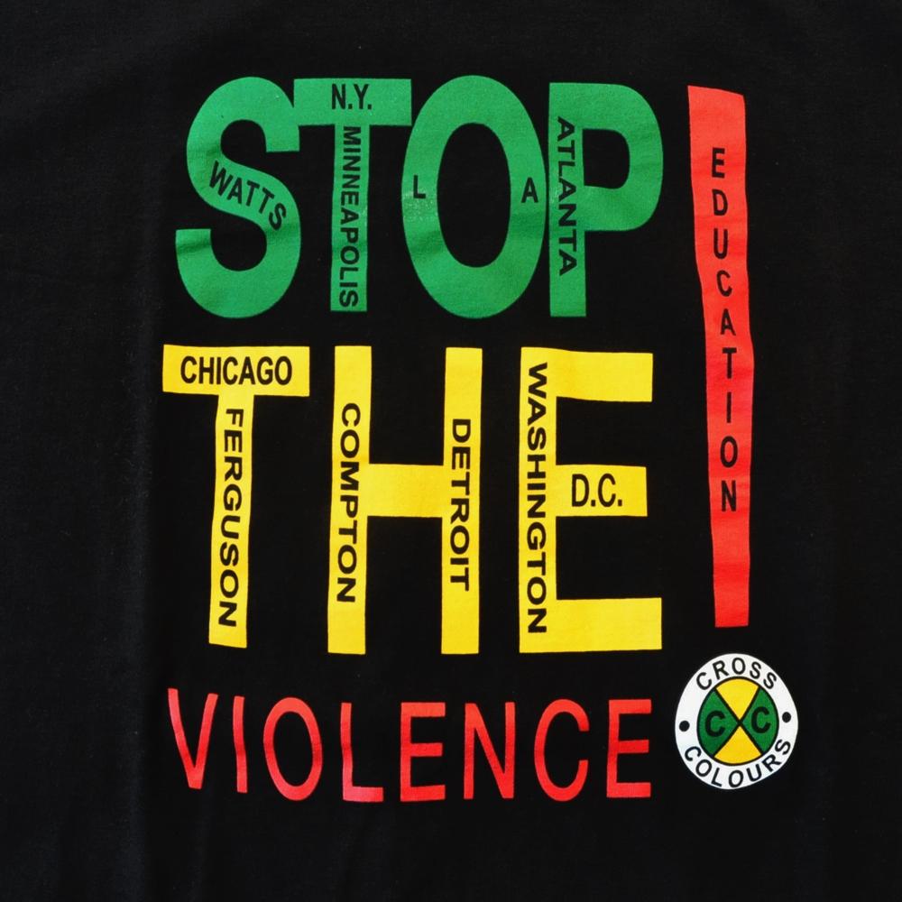 CROSS COLOURS/クロスカラーズ STOP THE VIOLENE! T-SHIRT BLACK-3