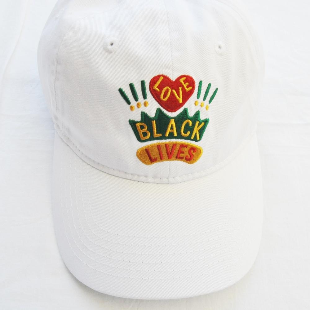 CROSS COLOURS/クロスカラーズ LOVE BLACK LIVERS 6 PANEL BASEBALL CAP WHITE-2