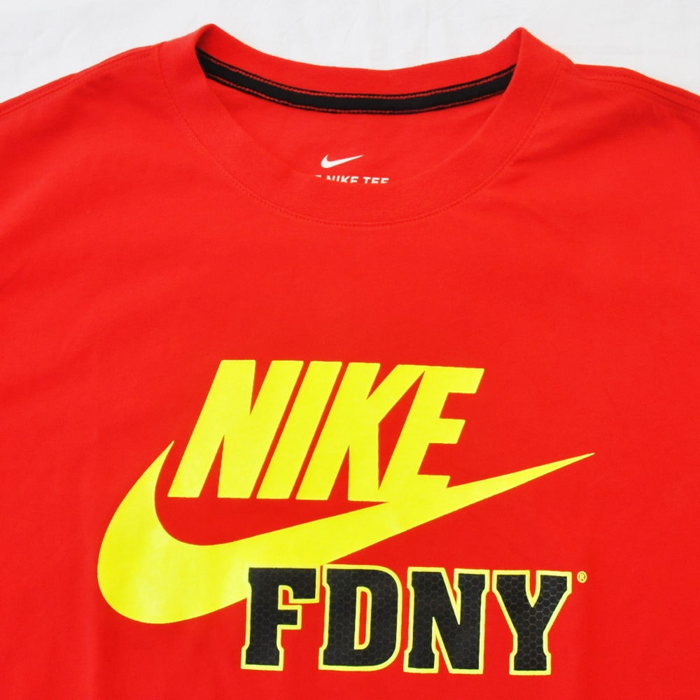 NIKE/ナイキ FIRE DEPARTMENT CITY OF NEW YORKE NIKE FDNY T-SHIRT RED NYC LIMITED BIG SIZE-4