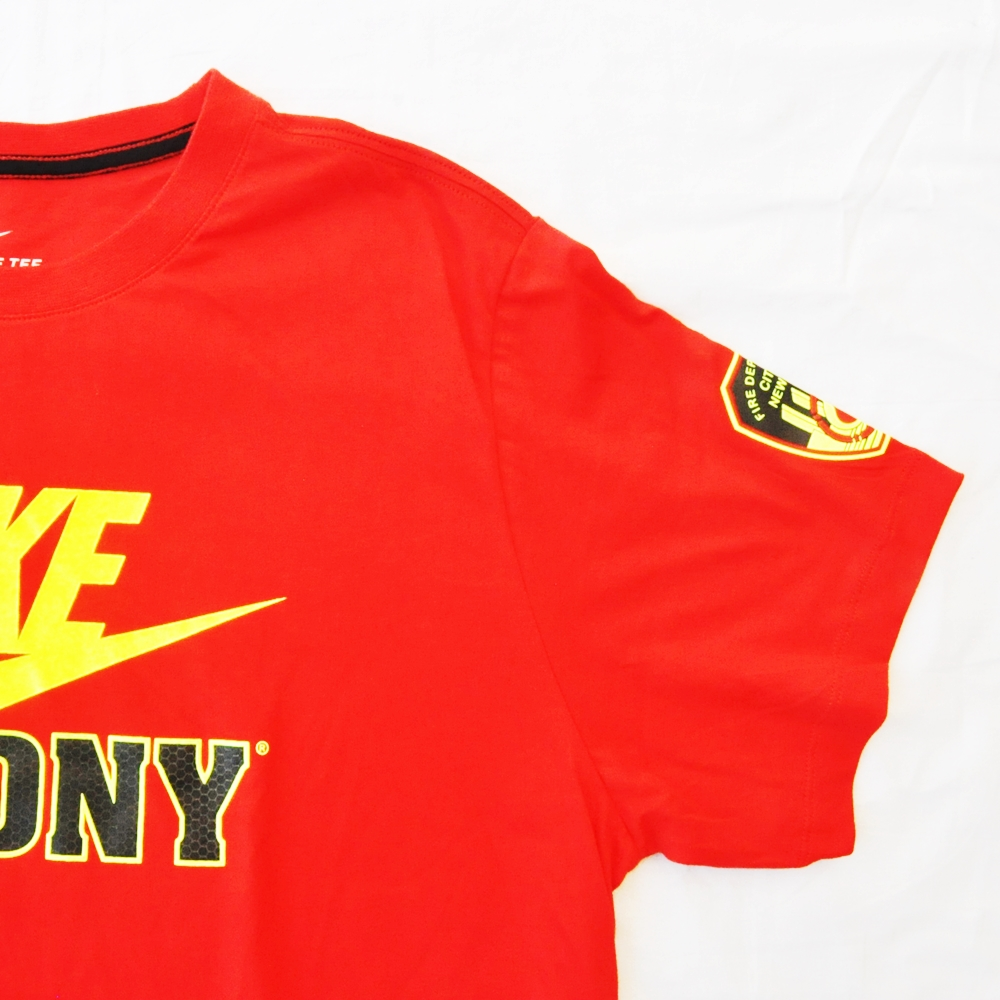 NIKE/ナイキ FIRE DEPARTMENT CITY OF NEW YORKE NIKE FDNY T-SHIRT RED NYC LIMITED BIG SIZE-7