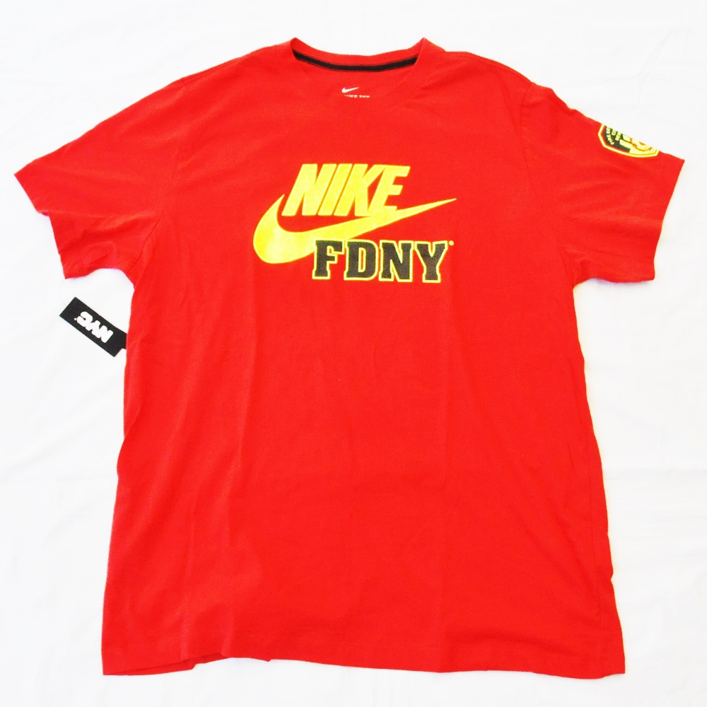 NIKE/ナイキ FIRE DEPARTMENT CITY OF NEW YORKE NIKE FDNY T-SHIRT RED NYC LIMITED BIG SIZE