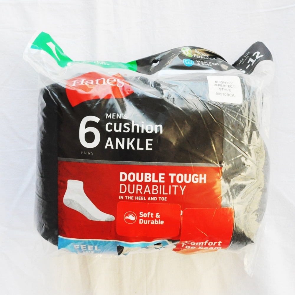 HANES/ヘインズ 6 VALUE PACK CUSHION ANKLE SOCKS DOUBLE TOUGH DURABILITY GREY SOLE BLACK 6-12