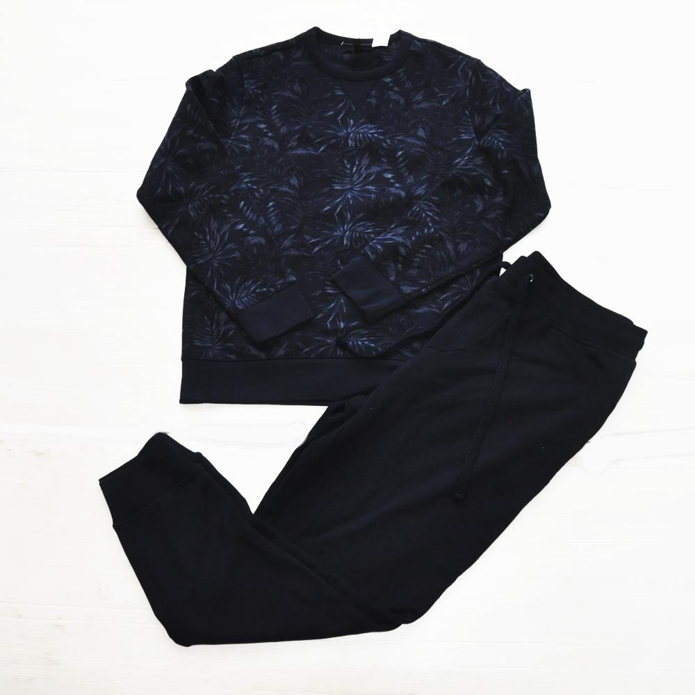 BANANA REPUBLIC/バナナリパブリック SAFARI PATTERN CREW NECK SWEAT& PLAIN SWEAT PANTS NAVY SET UP