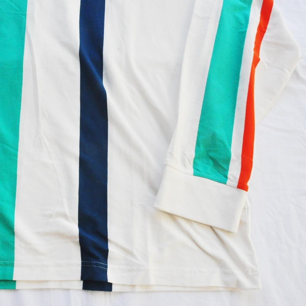 NAUTICA/ノーティカ VINTAGE FIT STRIPED PATTERN HOOD LONG SLEEVE T-SHIRT WHITE  BIG SIZE-5