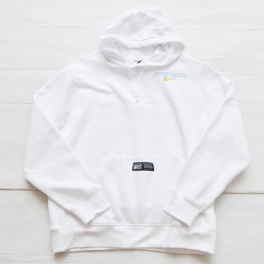 NIKE/ナイキ EVERYONE'S ALWAYS LATE FOR SOMETHING NIKE NYC PULL OVER SWEAT HOODIE WHITE NYC LIMITED-2