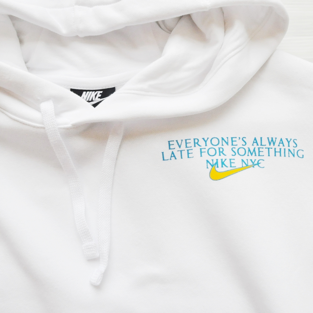 NIKE/ナイキ EVERYONE'S ALWAYS LATE FOR SOMETHING NIKE NYC PULL OVER SWEAT HOODIE WHITE NYC LIMITED-4