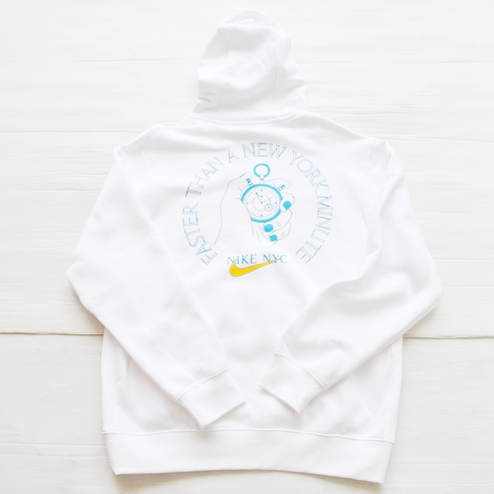 NIKE/ナイキ EVERYONE'S ALWAYS LATE FOR SOMETHING NIKE NYC PULL OVER SWEAT HOODIE WHITE NYC LIMITED