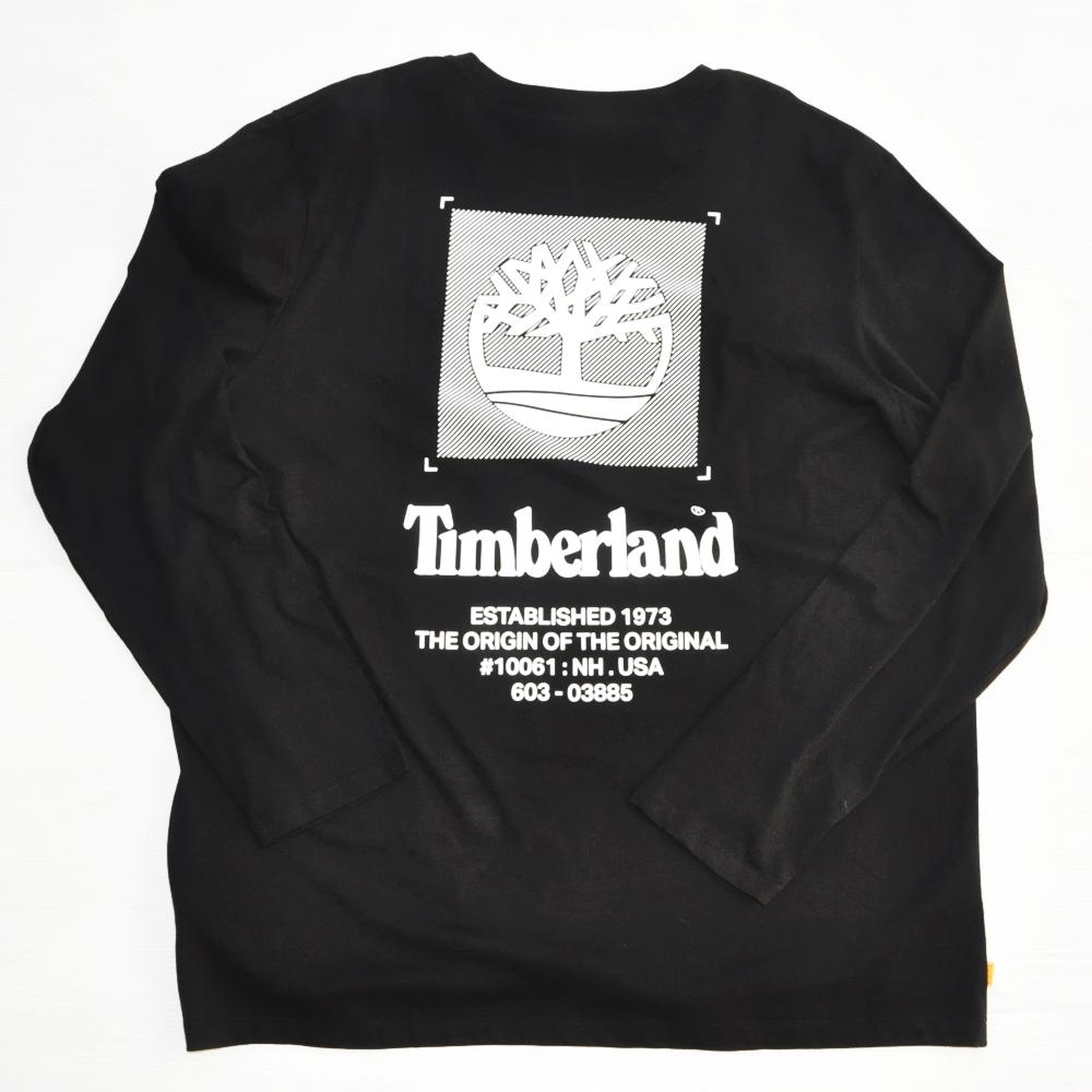 TIMBERLAND / ティンバーランド BACK TIMBERLAND LOGO  LONG SLEEVE T-SHIRT BLACK BIG SIZE
