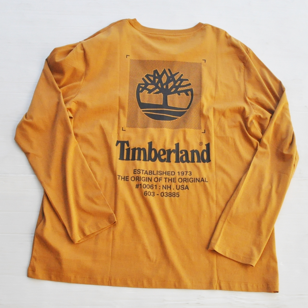 TIMBERLAND / ティンバーランド BACK TIMBERLAND LOGO  LONG SLEEVE T-SHIRT CAMEL BIG SIZE