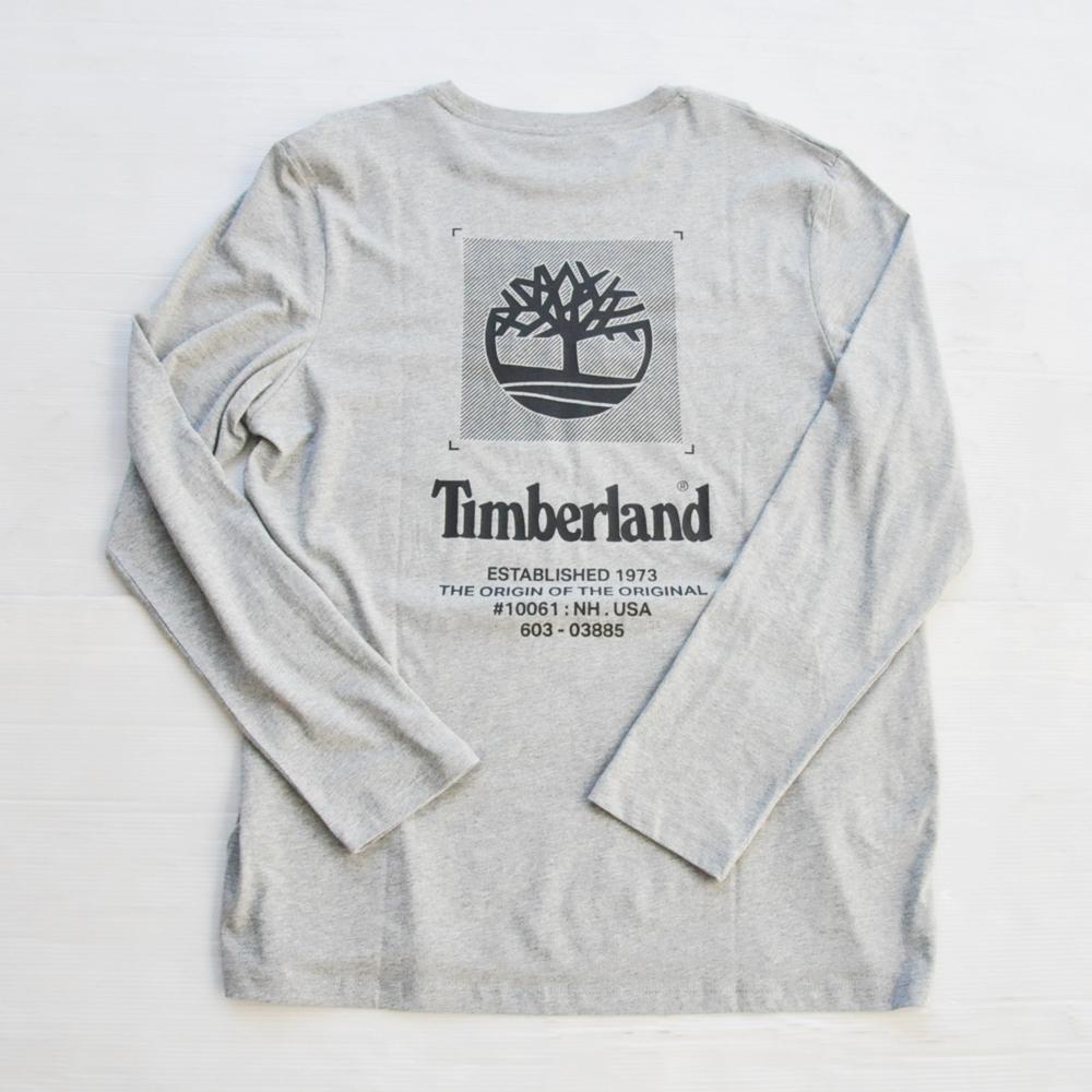TIMBERLAND / ティンバーランド BACK TIMBERLAND LOGO  LONG SLEEVE T-SHIRT GREY BIG SIZE